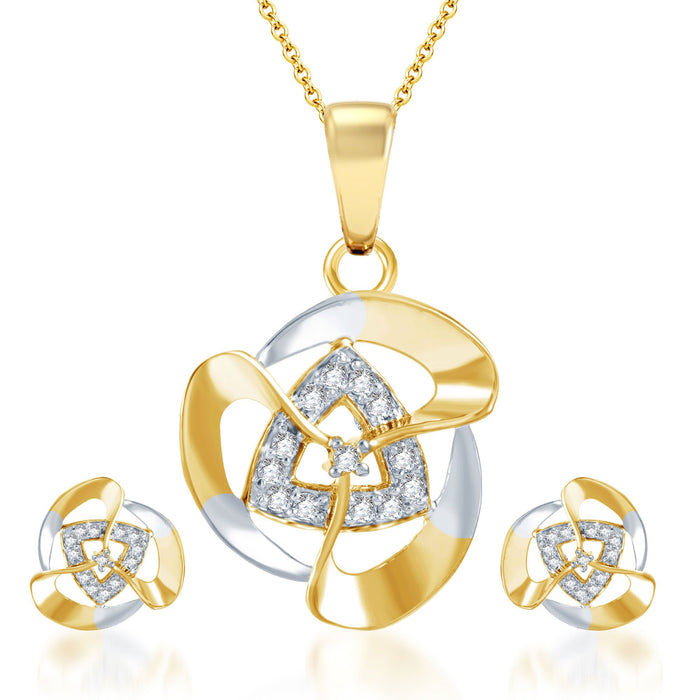 Pissara Elegant Gold and Rhodium Plated CZ Pendant Set