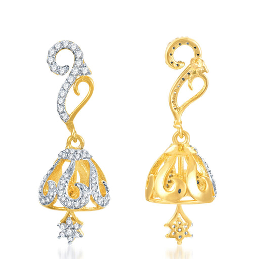 Pissara Stunning Gold and Rhodium Plated CZ Jhumki