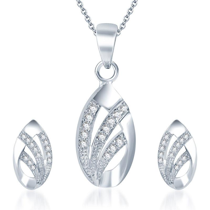 Pissara Exotic Rhodium plated CZ Pendant Set