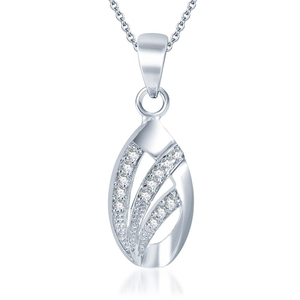Pissara Exotic Rhodium plated CZ Pendant Set-1