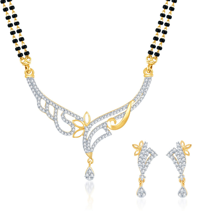 Pissara Well Crafted CZ Gold and Rhodium Plated Mangalsutra Set