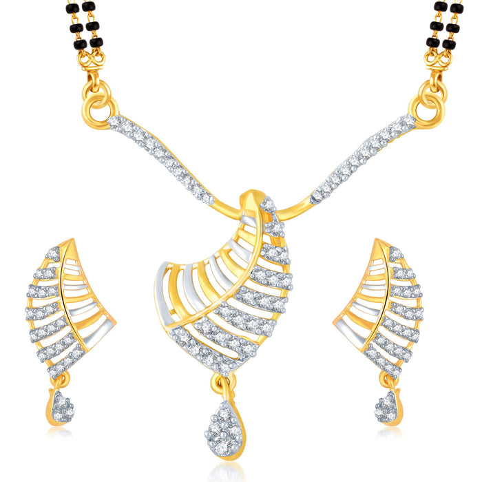 Pissara Splendid Gold and Rhodium Plated Cubic Zirconia Stone Studded Mangalsutra Set