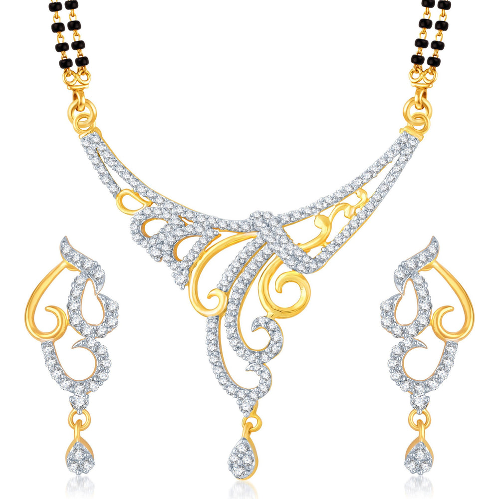 Pissara Eye-Catchy Gold and Rhodium Plated Cubic Zirconia Stone Studded Mangalsutra Set