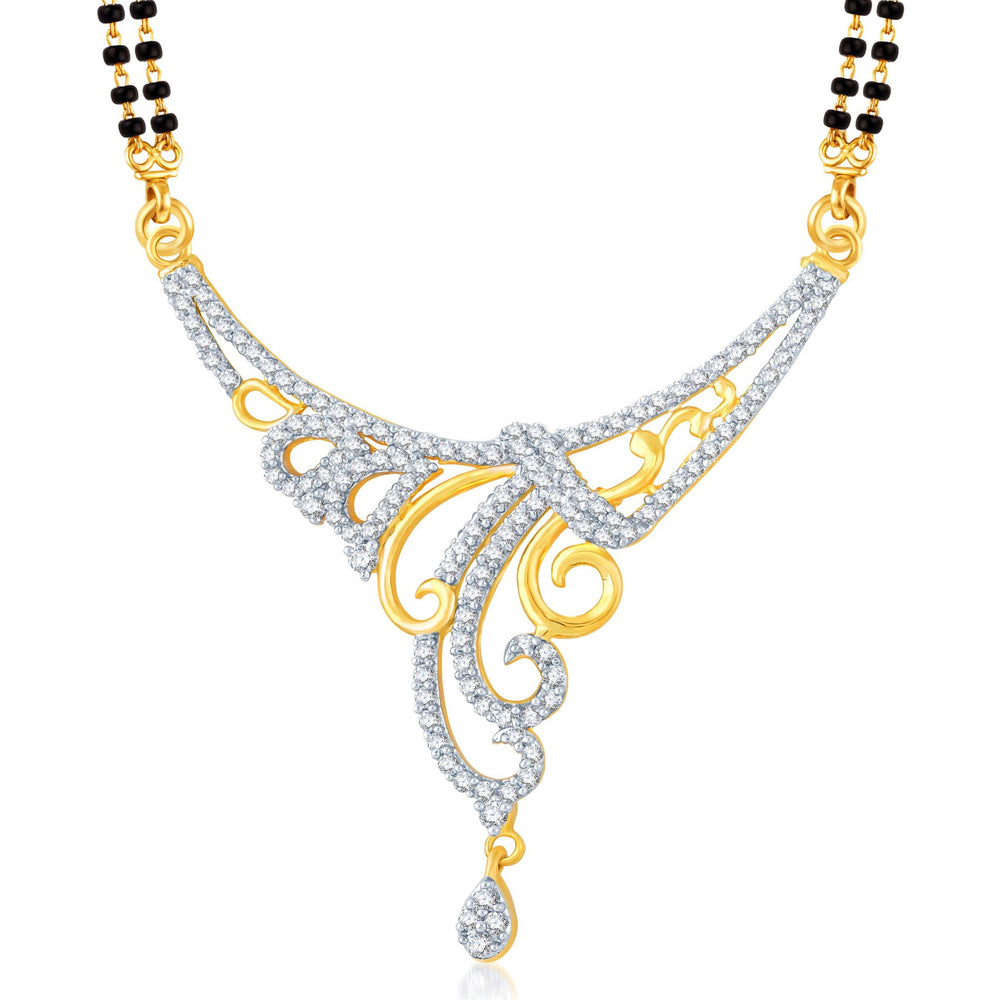 Pissara Eye-Catchy Gold and Rhodium Plated Cubic Zirconia Stone Studded Mangalsutra Set-1