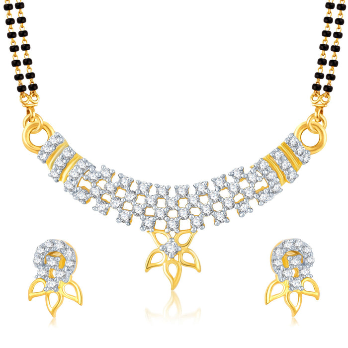 Pissara Fancy Gold and Rhodium Plated Cubic Zirconia Stone Studded Mangalsutra Set