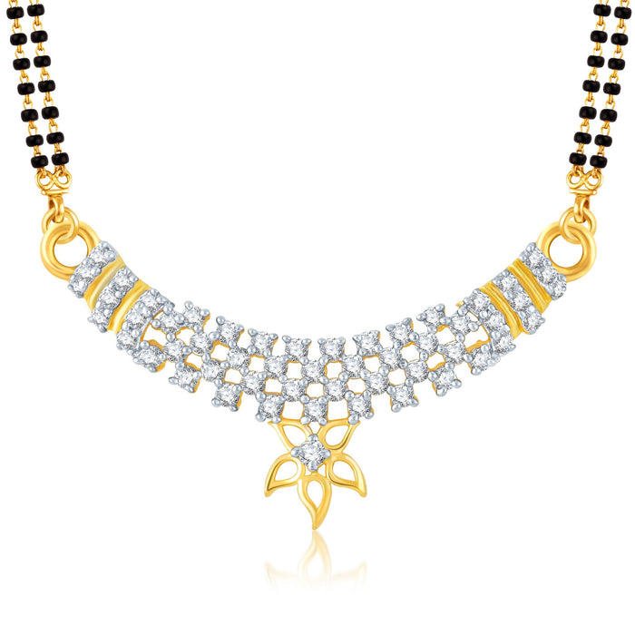 Pissara Fancy Gold and Rhodium Plated Cubic Zirconia Stone Studded Mangalsutra Set-1