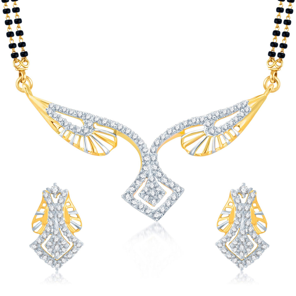 Pissara Exquitely Gold and Rhodium Plated Cubic Zirconia Stone Studded Mangalsutra Set
