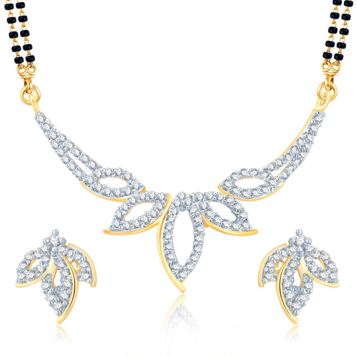 Pissara Glittery Gold and Rhodium Plated Cubic Zirconia Stone Studded Mangalsutra Set