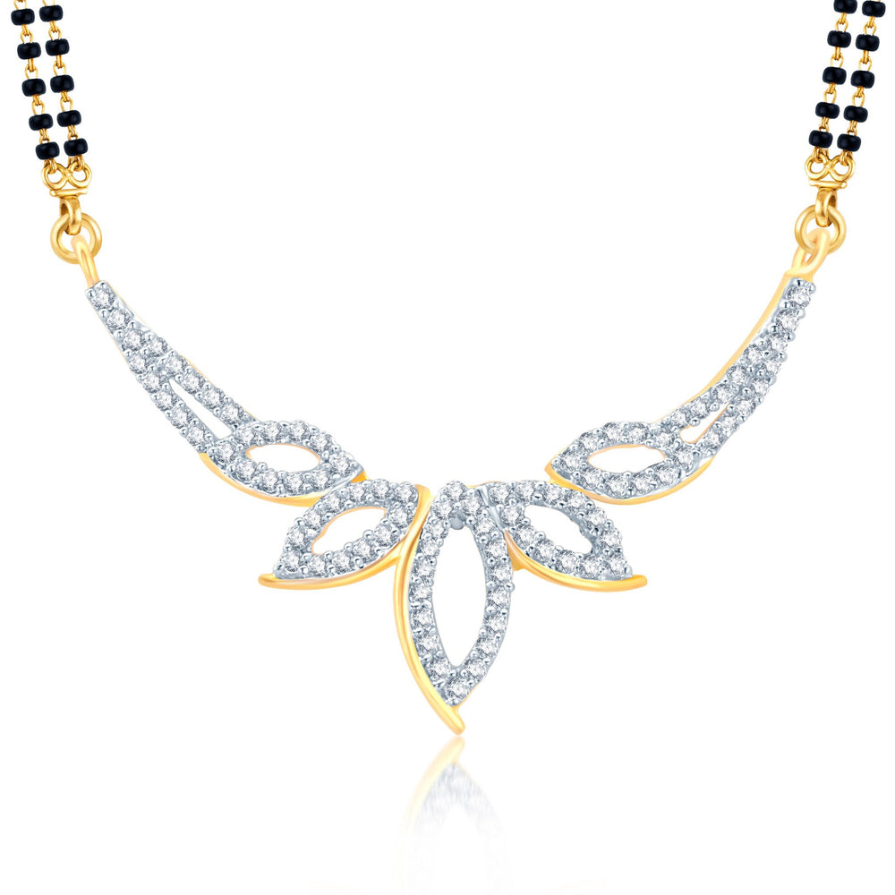 Pissara Glittery Gold and Rhodium Plated Cubic Zirconia Stone Studded Mangalsutra Set-1