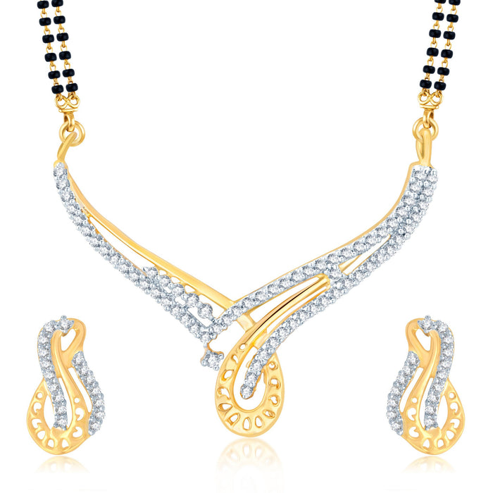 Pissara Fabulous Gold and Rhodium Plated Cubic Zirconia Stone Studded Mangalsutra Set