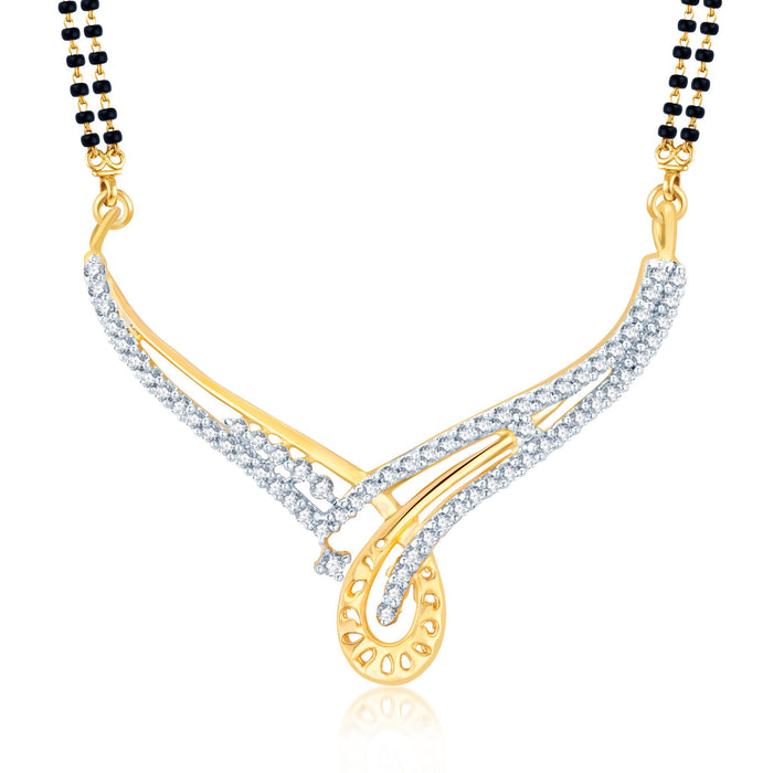 Pissara Fabulous Gold and Rhodium Plated Cubic Zirconia Stone Studded Mangalsutra Set-1