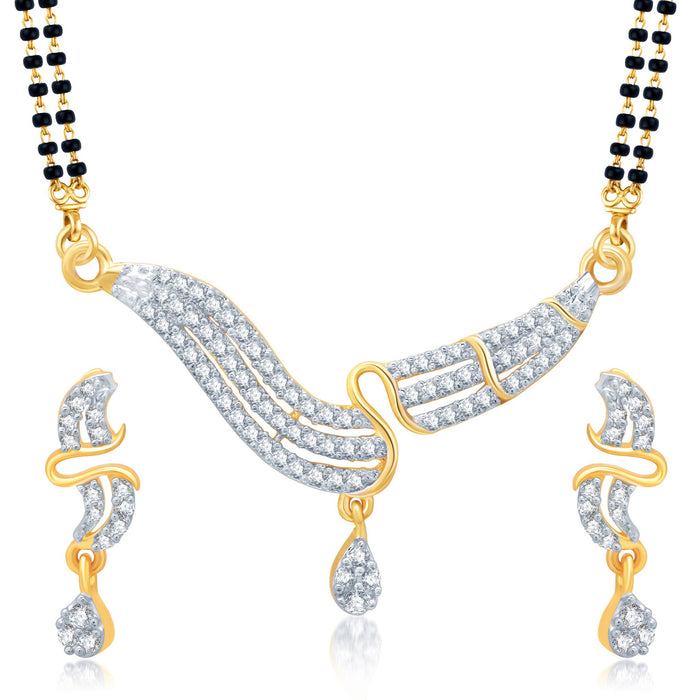 Pissara Sleek Gold and Rhodium Plated Cubic Zirconia Stone Studded Mangalsutra Set