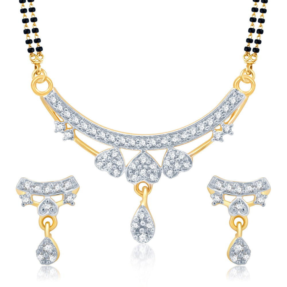 Pissara Exotic Gold and Rhodium Plated Cubic Zirconia Stone Studded Mangalsutra Set