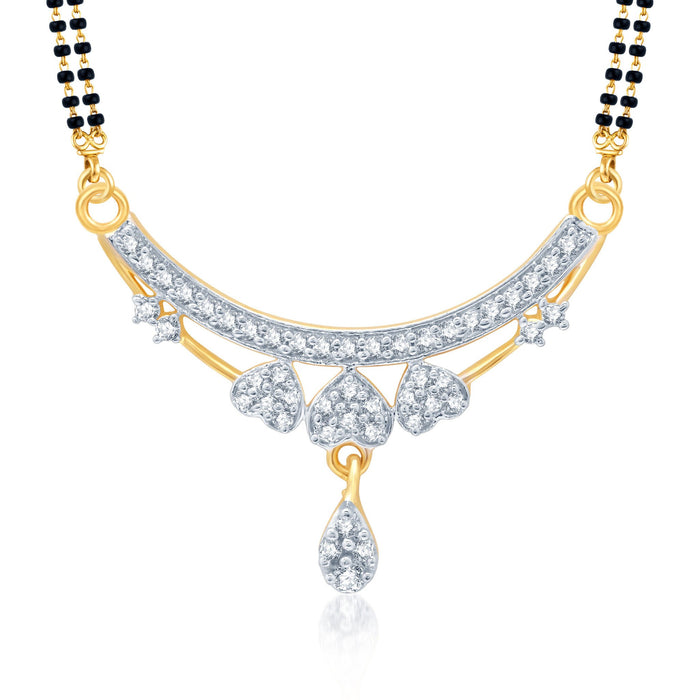 Pissara Exotic Gold and Rhodium Plated Cubic Zirconia Stone Studded Mangalsutra Set-1