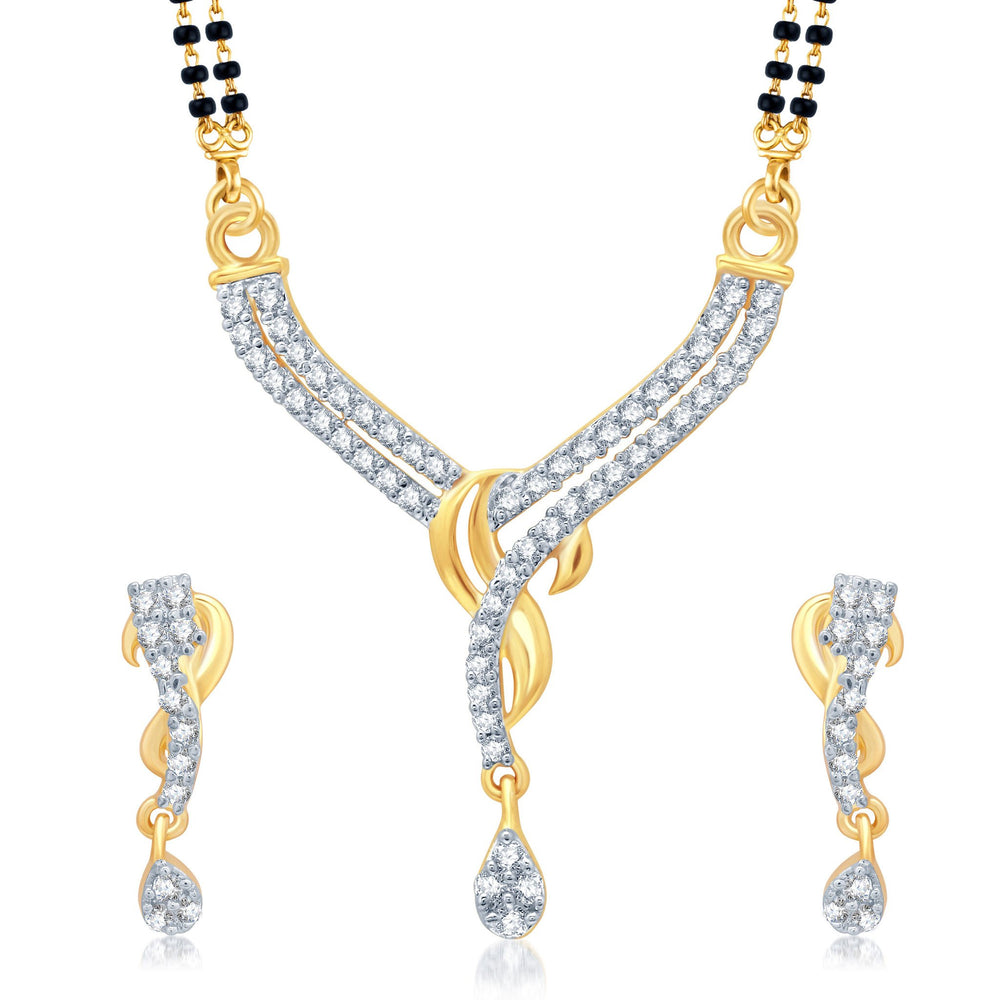 Pissara Incredible Gold and Rhodium Plated Cubic Zirconia Stone Studded Mangalsutra Set