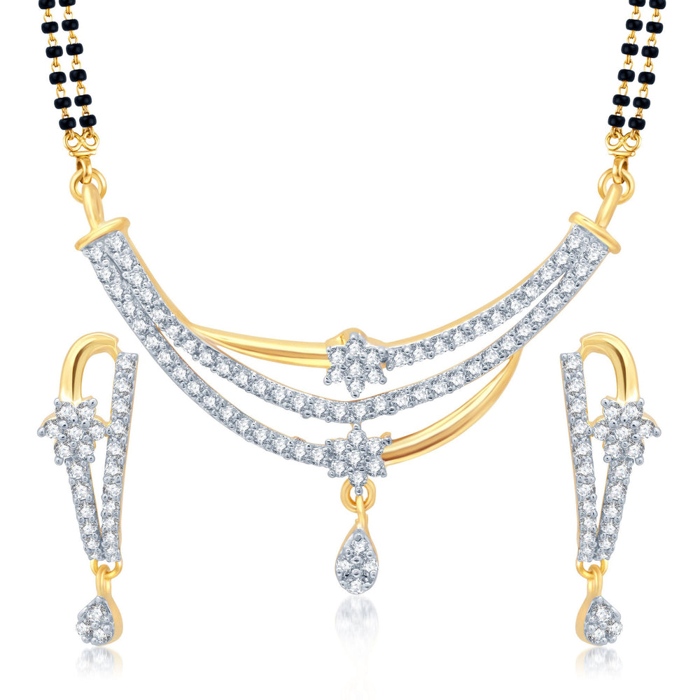 Pissara Delightful Gold and Rhodium Plated Cubic Zirconia Stone Studded Mangalsutra Set