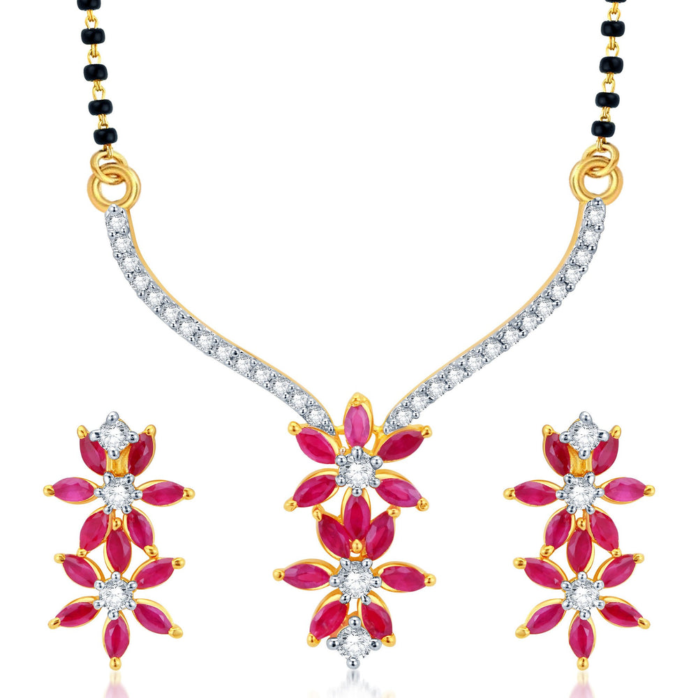 Pissara Magnificent Gold and Rhodium Plated CZ Marquise Ruby Mangalsutra Set
