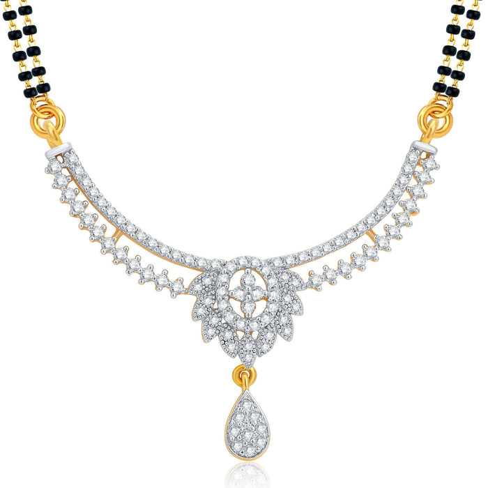 Pissara Excellent Gold and Rhodium Plated CZ Mangalsutra Set For Women-1