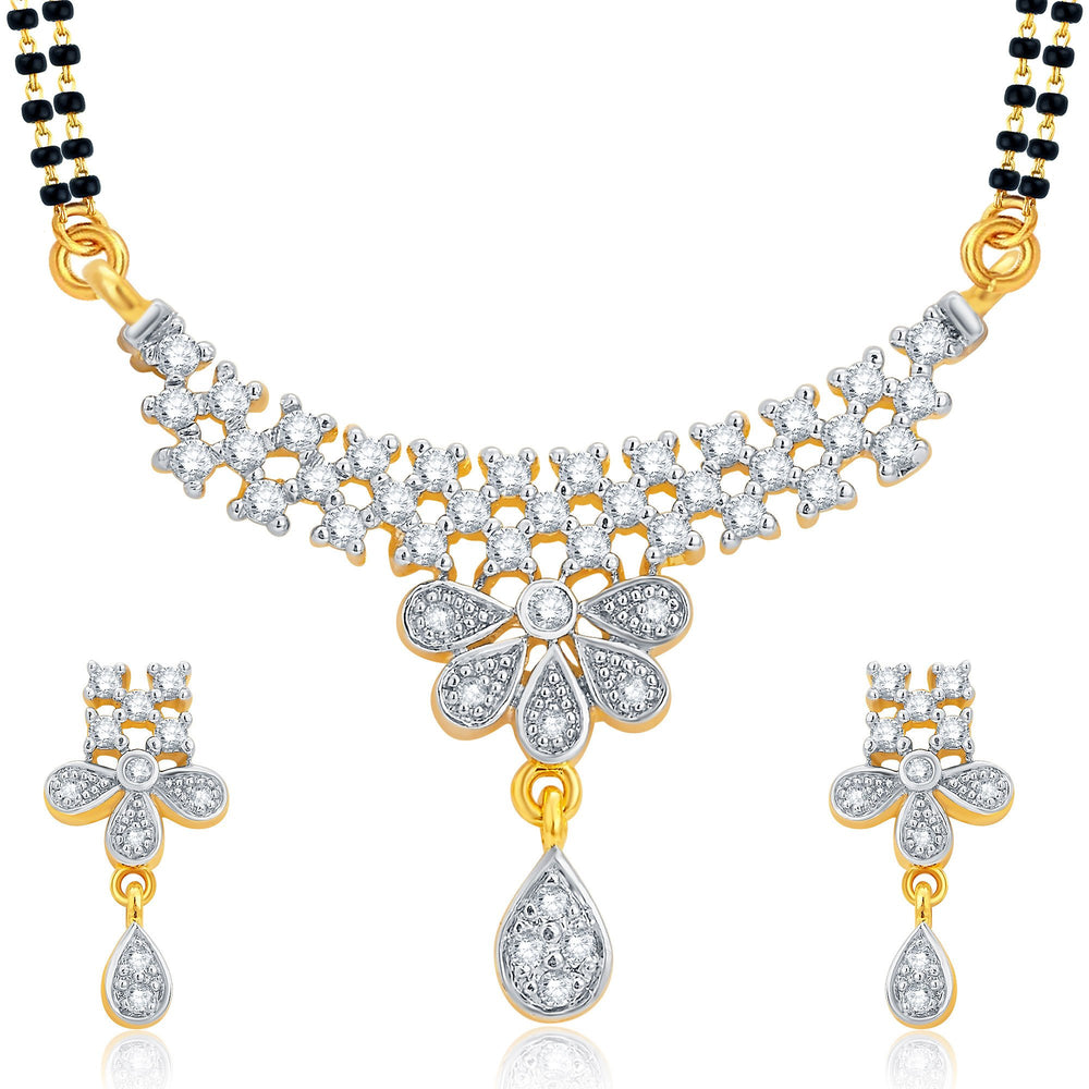 Pissara Designer Gold and Rhodium Plated CZ Mangalsutra Set For Women