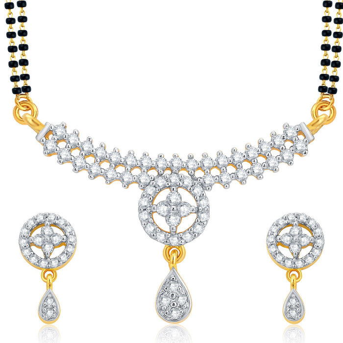 Pissara Glistening Gold and Rhodium Plated CZ Mangalsutra Set For Women