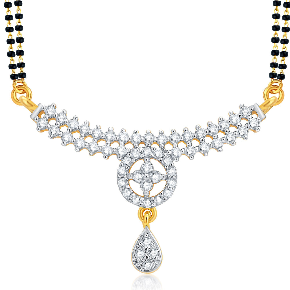 Pissara Glistening Gold and Rhodium Plated CZ Mangalsutra Set For Women-1