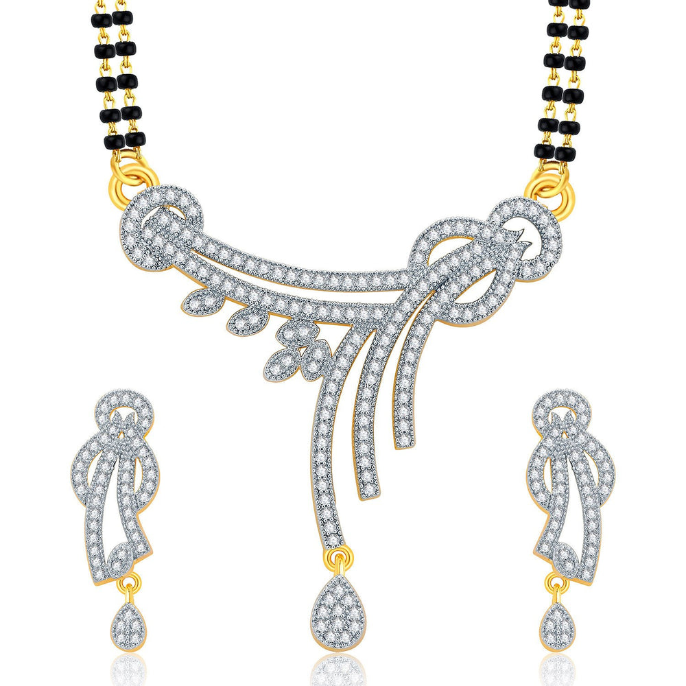 Pissara Passionate Gold And Rhodium Plated CZ Mangalasutra Set For Women