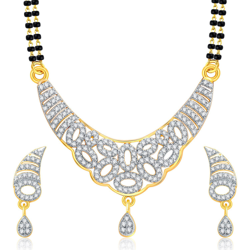 Pissara Exotic Gold And Rhodium Plated CZ Mangalasutra Set For Women