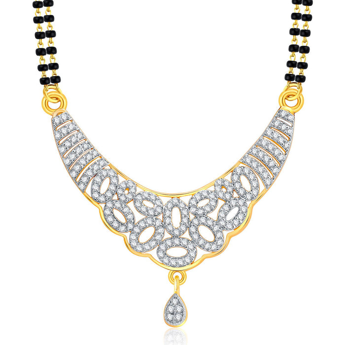 Pissara Exotic Gold And Rhodium Plated CZ Mangalasutra Set For Women-1