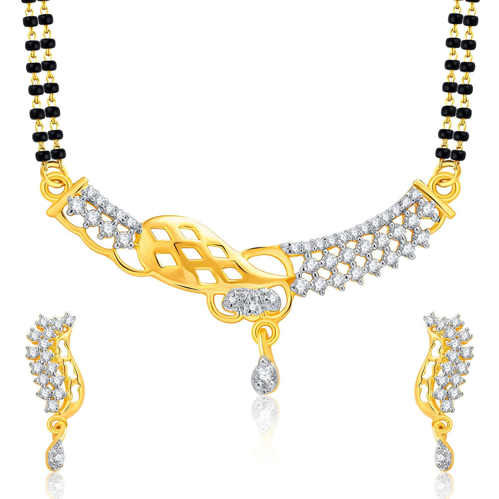 Pissara Gracious Gold And Rhodium Plated CZ Mangalasutra Set For Women