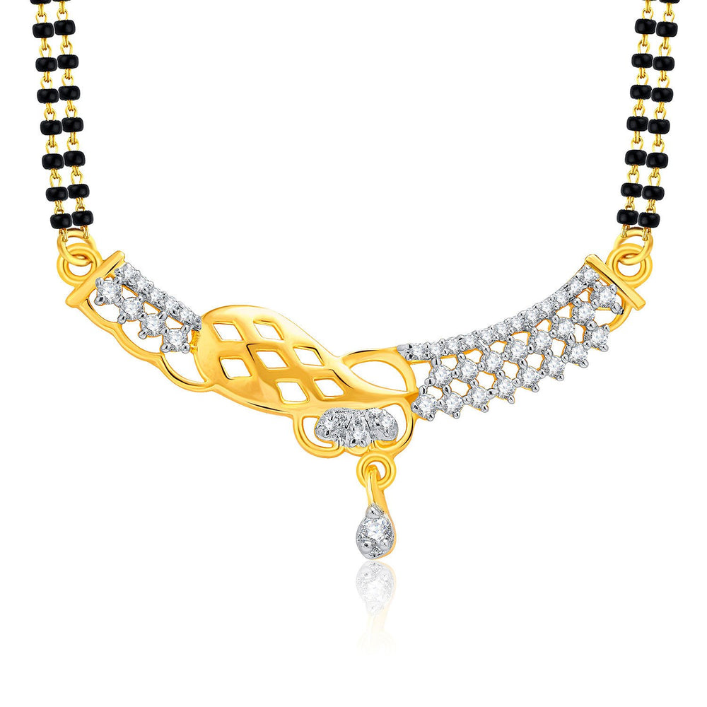 Pissara Gracious Gold And Rhodium Plated CZ Mangalasutra Set For Women-1