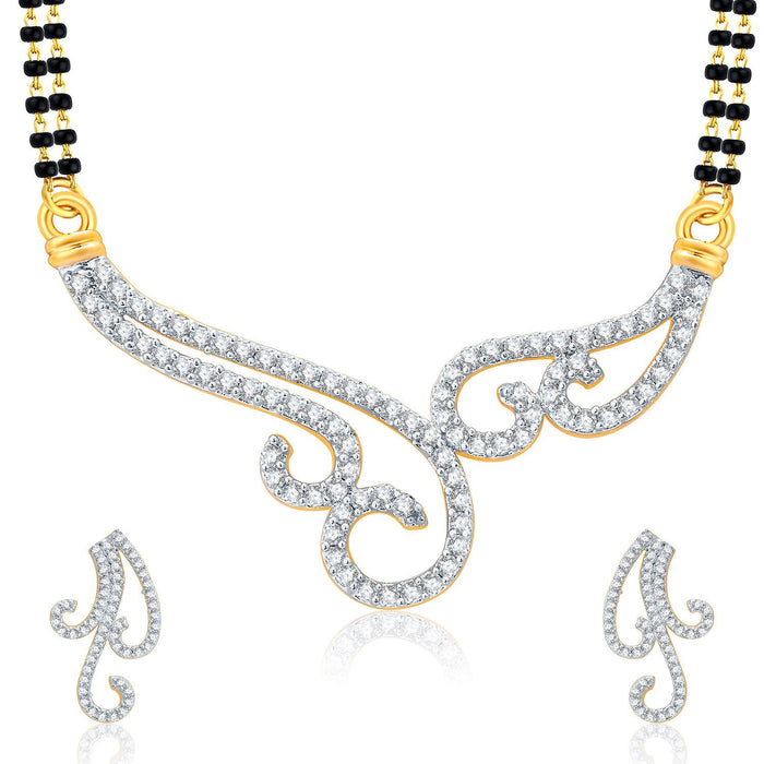 Pissara Lovely Gold And Rhodium Plated CZ Mangalasutra Set For Women