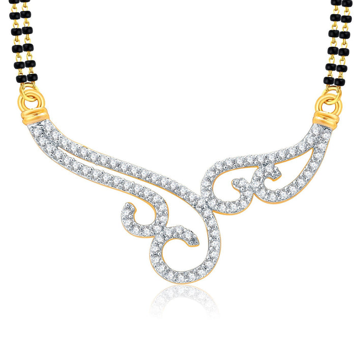 Pissara Lovely Gold And Rhodium Plated CZ Mangalasutra Set For Women-1