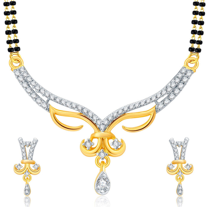 Pissara Heartly Gold And Rhodium Plated CZ Mangalasutra Set For Women