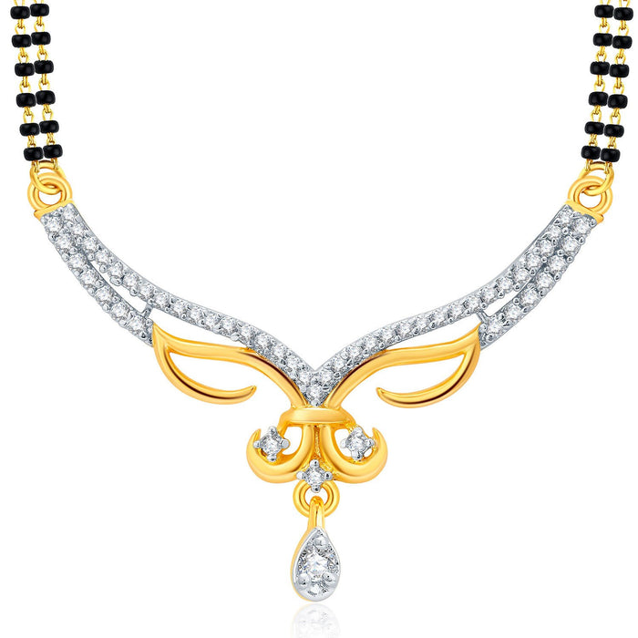 Pissara Heartly Gold And Rhodium Plated CZ Mangalasutra Set For Women-1