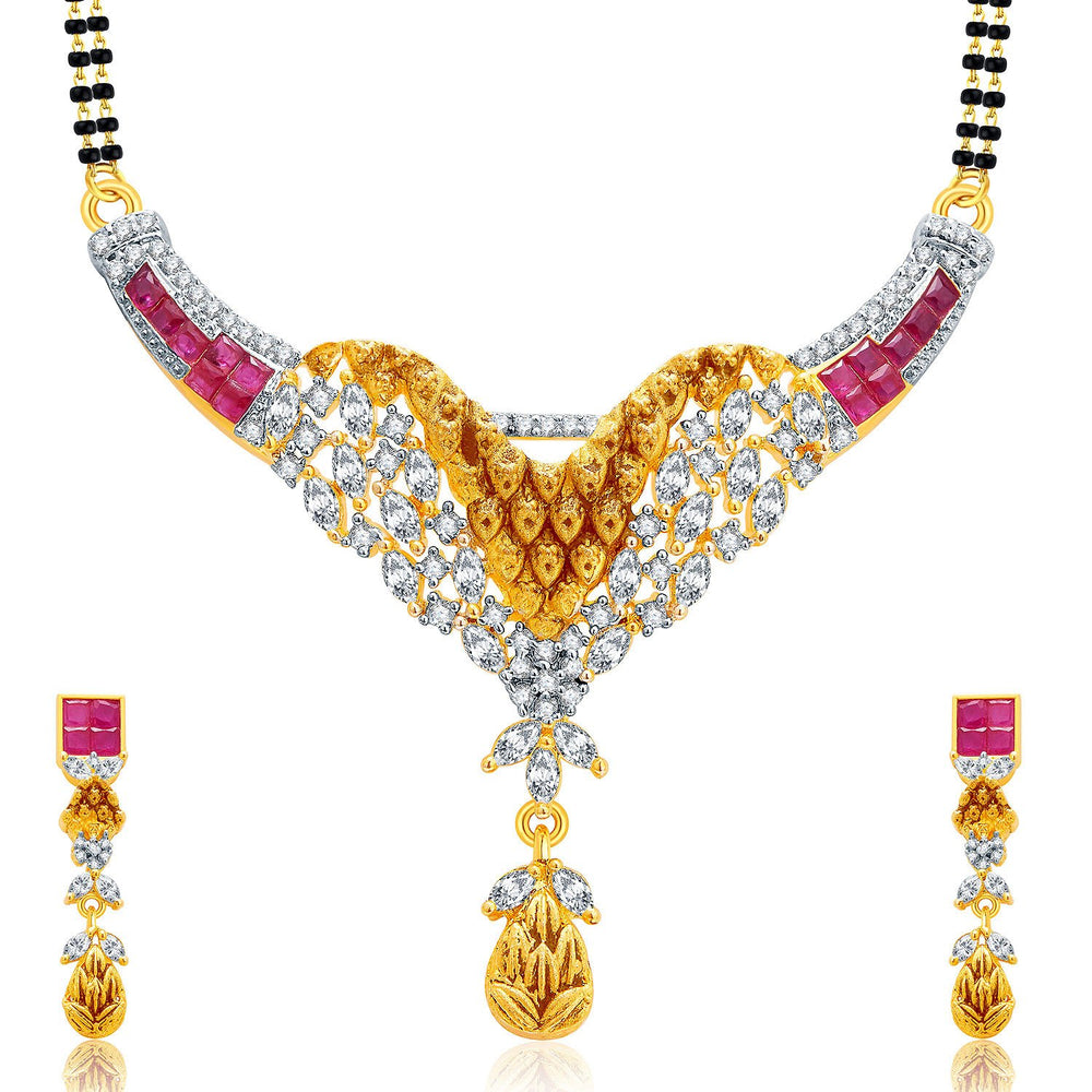 Pissara Incredible Gold And Rhodium Plated Ruby CZ Mangalasutra Set For Women