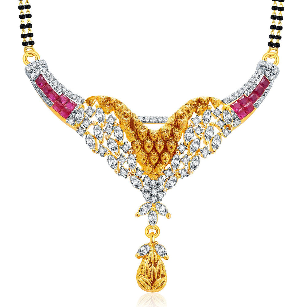 Pissara Incredible Gold And Rhodium Plated Ruby CZ Mangalasutra Set For Women-1