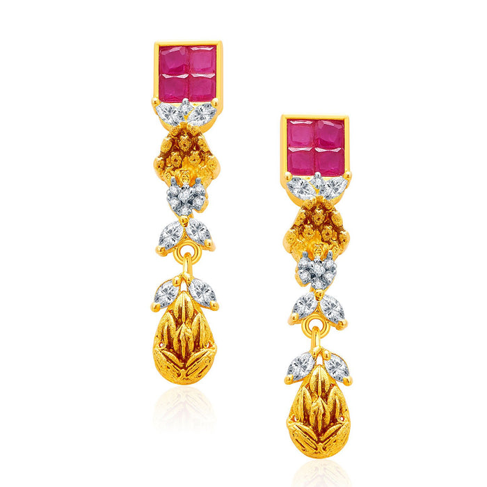 Pissara Incredible Gold And Rhodium Plated Ruby CZ Mangalasutra Set For Women-2