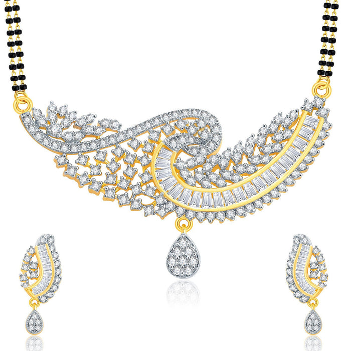 Pissara Gorgeous Gold And Rhodium Plated CZ Mangalasutra Set For Women