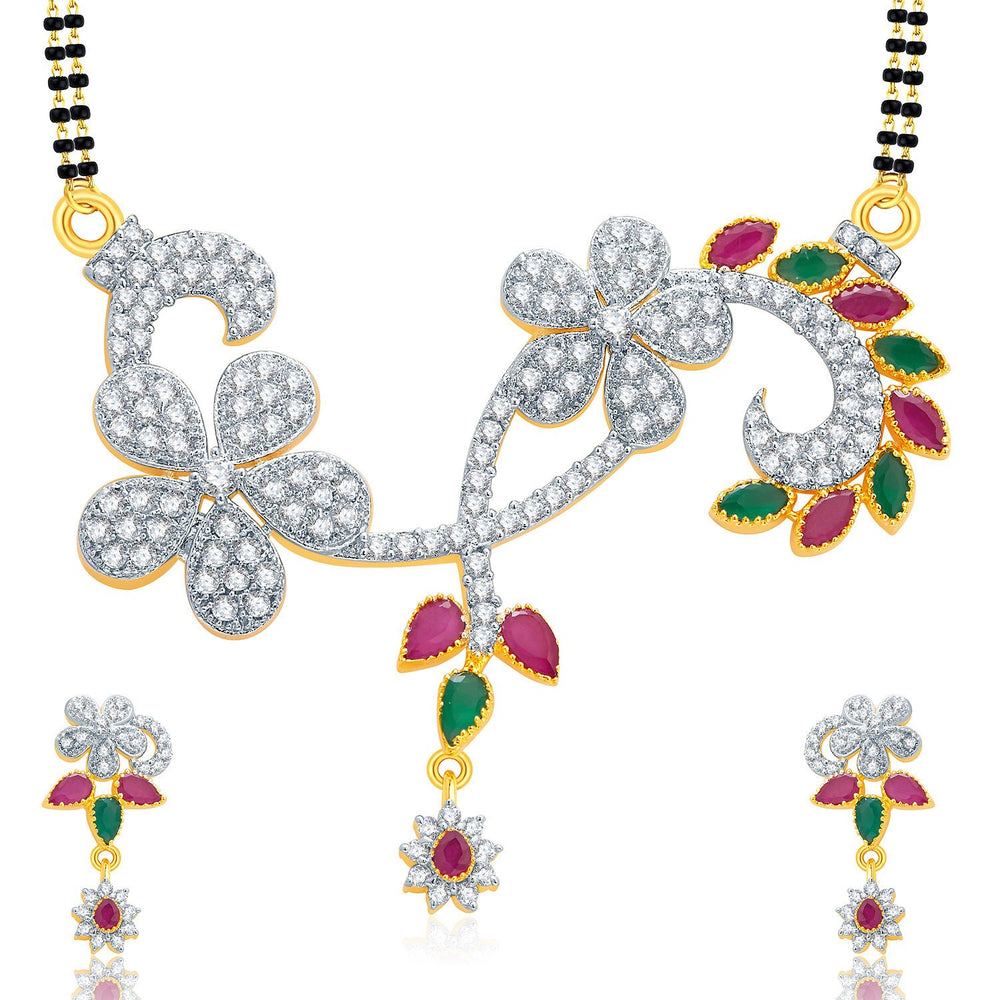 Pissara Vivid Gold And Rhodium Plated Ruby CZ Mangalasutra Set For Women