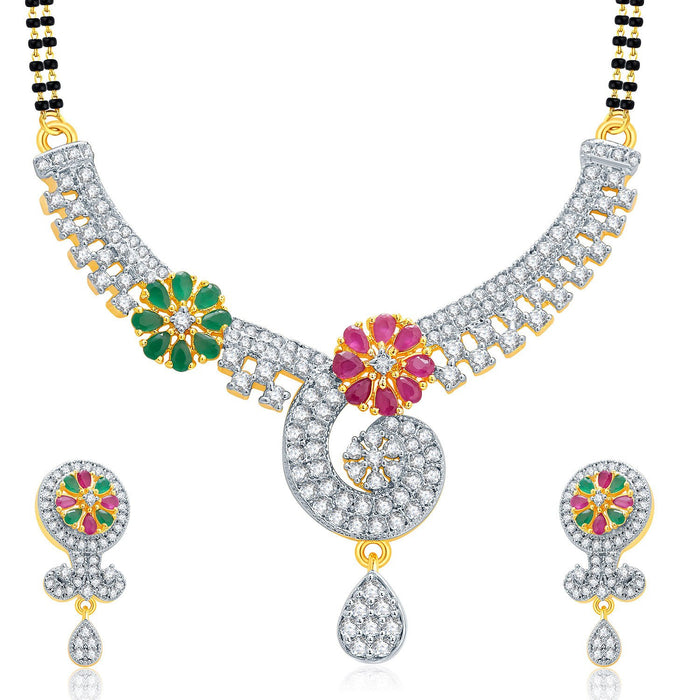 Pissara Poignant Gold And Rhodium Plated Ruby CZ Mangalasutra Set For Women