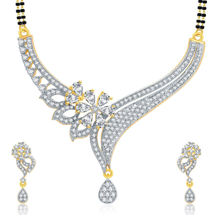 Pissara Enthralling Gold And Rhodium Plated CZ Mangalasutra Set For Women