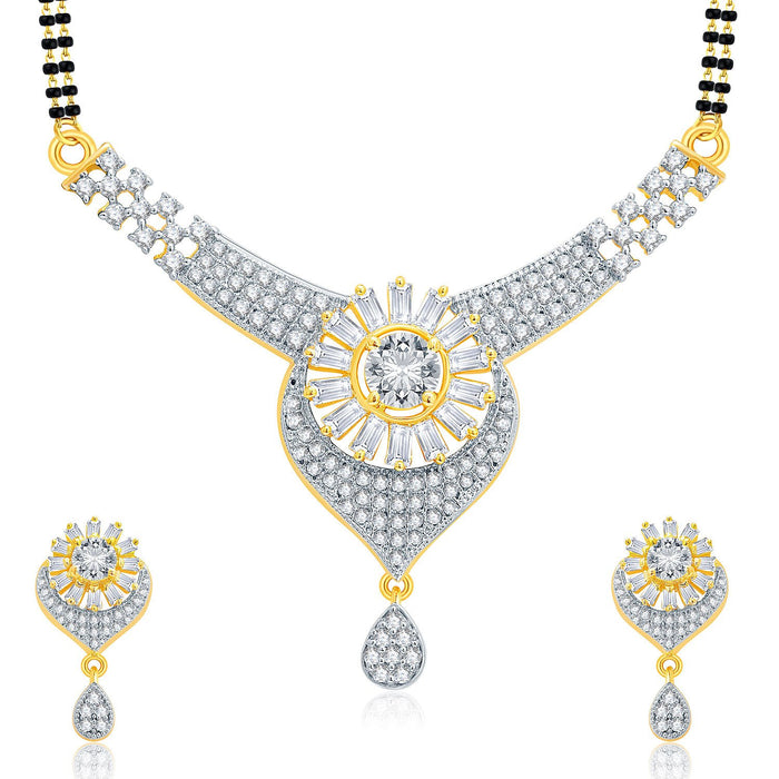 Pissara Outrageous Gold And Rhodium Plated CZ Mangalasutra Set For Women