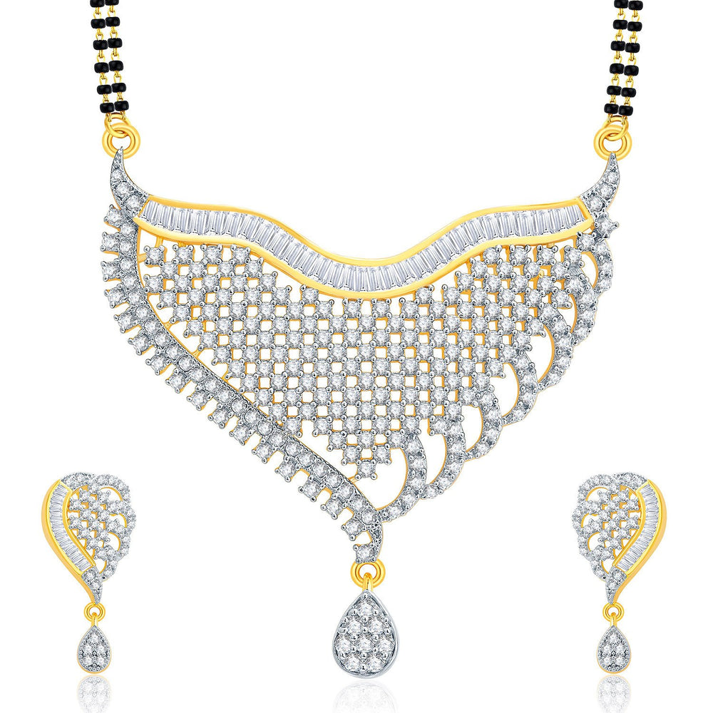 Pissara Fascinating Gold And Rhodium Plated CZ Mangalasutra Set For Women