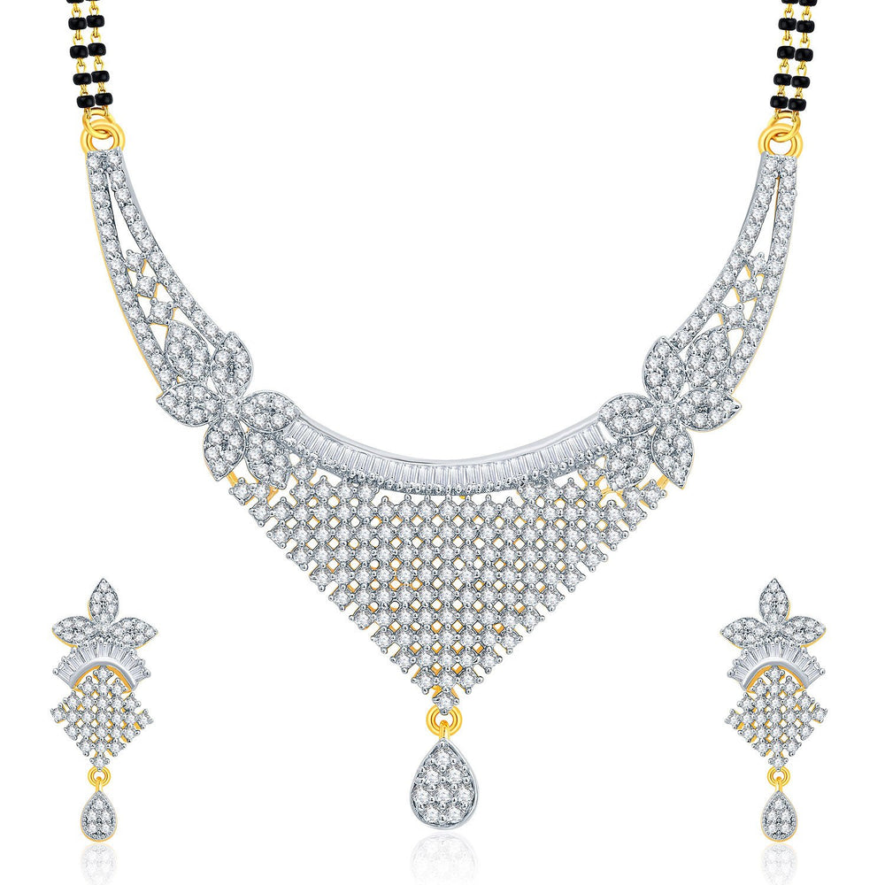Pissara Jovia Gold And Rhodium Plated CZ Mangalasutra Set For Women