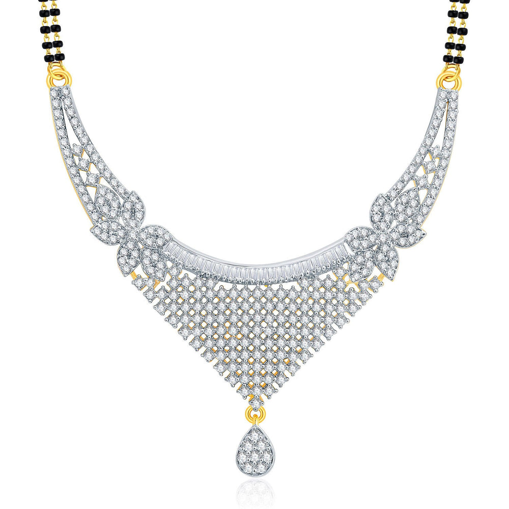 Pissara Jovia Gold And Rhodium Plated CZ Mangalasutra Set For Women-1