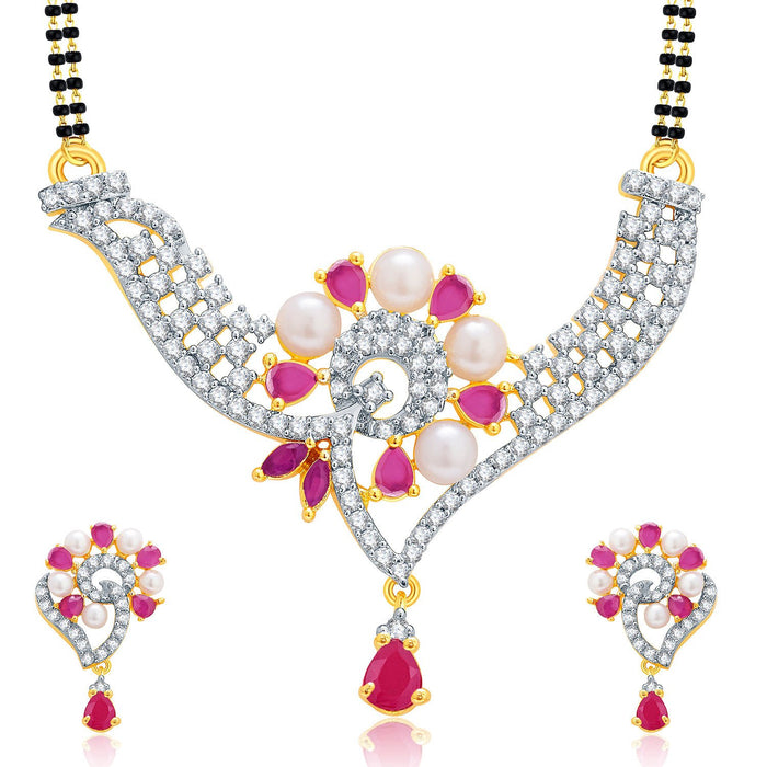 Pissara Vibrant Gold And Rhodium Plated Ruby CZ Mangalasutra Set For Women