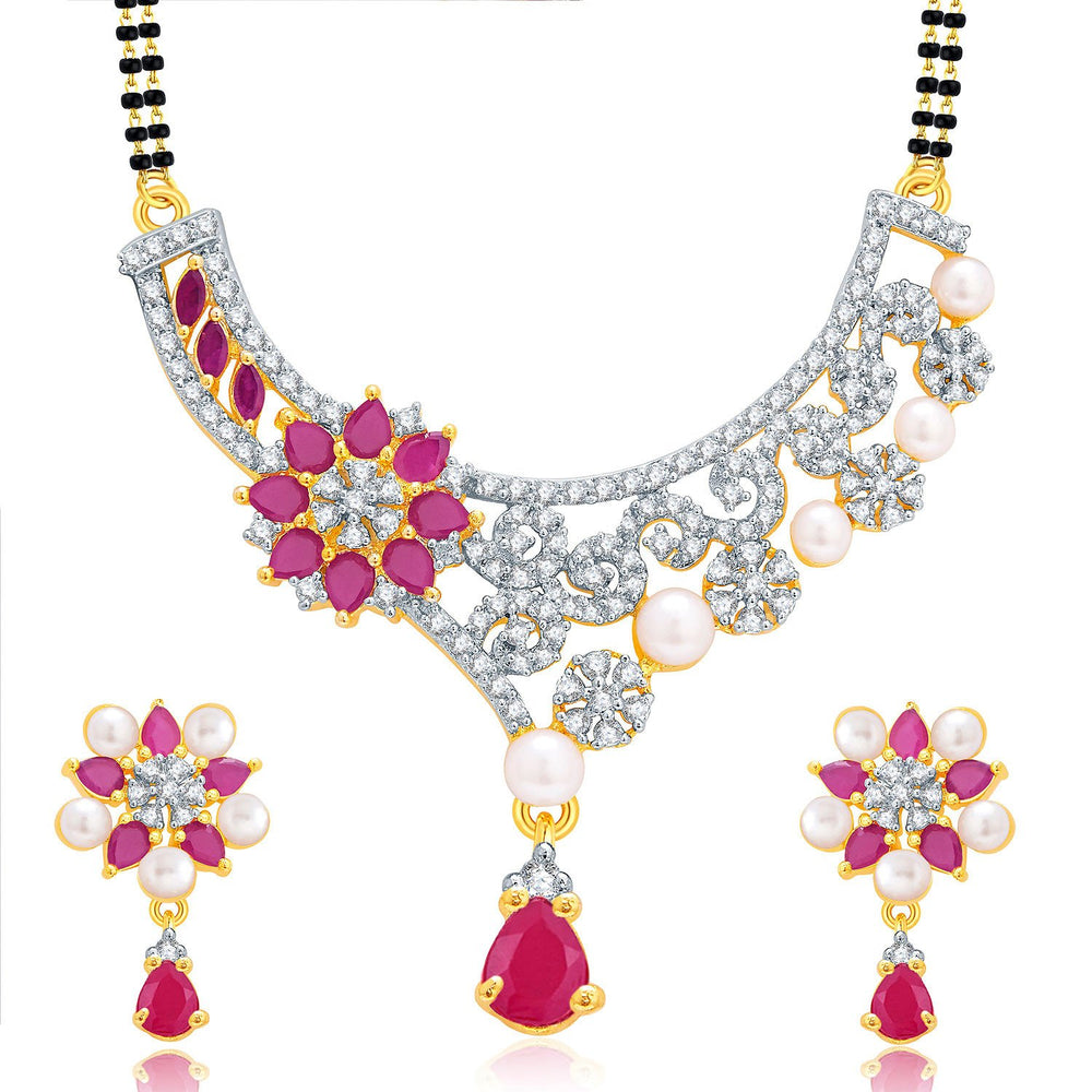 Pissara Winsome Gold And Rhodium Plated Ruby CZ Mangalasutra Set For Women
