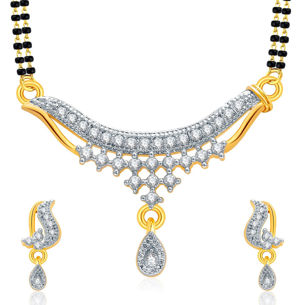 Pissara Sparkly Gold And Rhodium Plated CZ Mangalasutra Set For Women