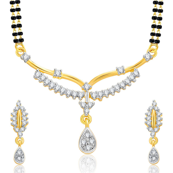 Pissara Delight Gold And Rhodium Plated CZ Mangalasutra Set For Women
