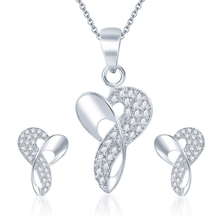 Pissara Beguiling Rhodium plated CZ Pendant Set